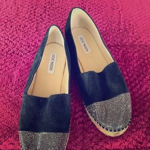 Steve Madden black suede wedges with stones